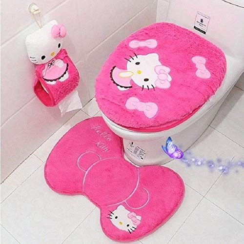 Eliphs 4PCS Hello Kitty Bathroom Set Toilet Cover WC Seat Cover Bath Mat Holder Pink/Rose Red (Rose Red) by Eliphs
