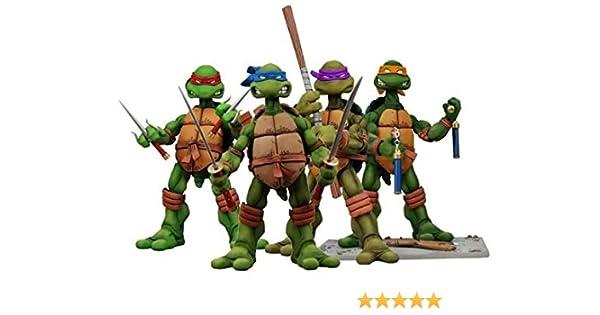 BringUGood NECA TMNT - Juego de 4 Figuras de acción de Las Tortugas Ninja en Tubo