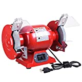 YesHom 6'' Bench Grinder 1/2 HP 3450 RPM with Tool Rests Eye Shields 1/2'' Wheel Arbor Sharpener Polisher Tool Parts