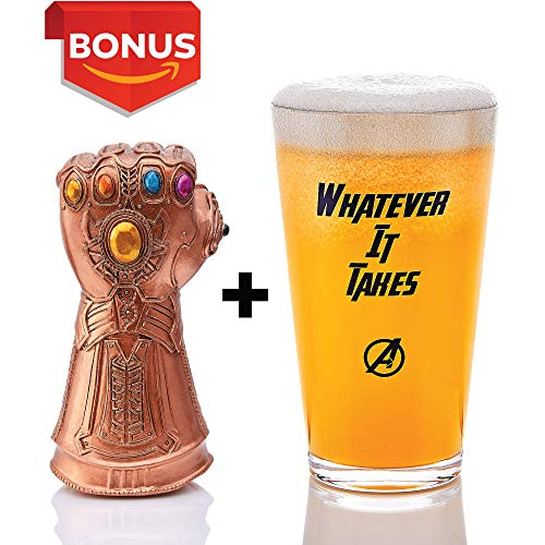Thanos Infinity Gauntlet Style Beer Bottle Opener + 17 oz Beer Glass - Whatever It Takes, Cool Novelty Gift for Marvel Avengers Fans, Craft Beer Lovers (Bottle Opener + Cup)