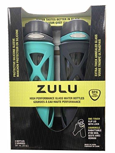 Zulu High Performance Glass Water Bottle, 20 oz(591 ml) 2-pack (Teal/Dark Gray)