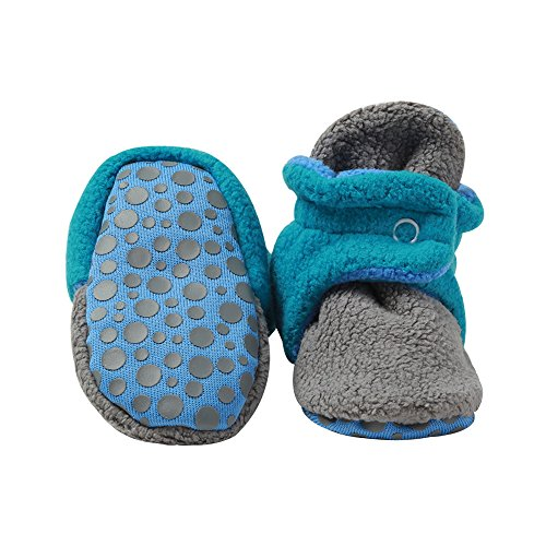 Zutano Unisex Baby Extra Warm Fleece Baby Booties w/ Grippers, 12M, Gray/Pagoda (Socks Zutano)