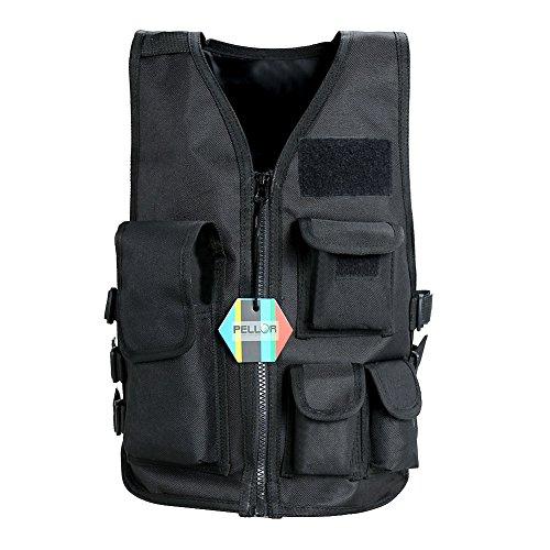 Pellor Outdoor Children Kids Hunting Waistcoat Nylon Tactical Vest CS Field Paintball Combat Training Protective Vest (Black, L: For shorter than ()