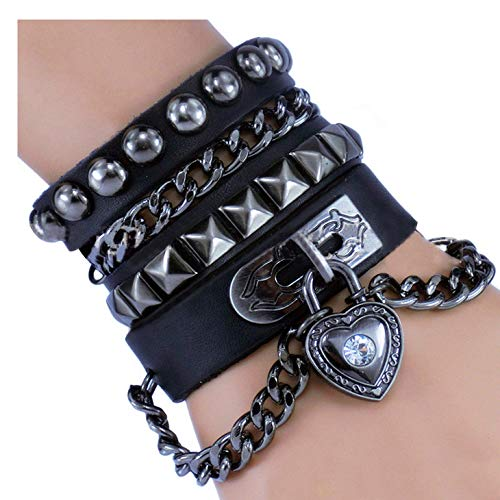 Y-blue Multilayer Bracelet Fashion Punk Leather Woven Braided Cross Bangle Wrist Cuff Wristband (Black - Love ()