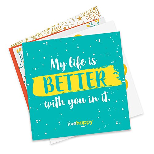 Live Happy Self Stick Notes, 3 inch x 3 inch, 5 Pads/Pack, 50 Sheets/Pad (10 Love/Family-Themed Encouraging Messages on Sticky Notes)