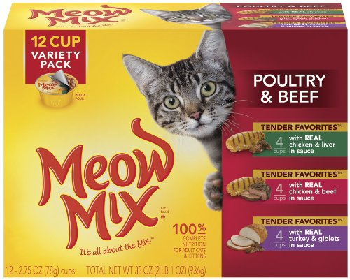 Meow Mix Tender Favorites Poultry and Beef Variety Pack,  2.75-Ounce Cups (Pack of 48), My Pet Supplies