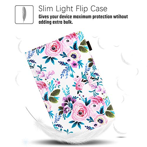 SM-T510 Case for Samsung Galaxy Tab A 10.1 2019 Case, Dteck Slim Fit Premium Leather Folio Stand Protective Magnetic Case with Card Slots for Samsung Tab A 10.1 inch SM-T510/T515, Rose Floral