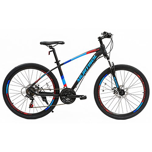 "Uenjoy Murtisol 26"" Mountain Bike 21 Speed Aluminum Frame Hybrid Bicycle Front Suspension/Disc Brake/Shimano Derailleur in 3 color"