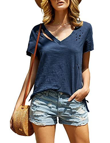 imesrun Womens Short Sleeve V Neck Shirts Distressed Casual High Low Tee Tops with Side Slit Blue XL