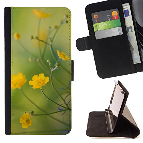 God Garden - FOR Apple Iphone 4 / 4S - Buttercups Flowers - Glitter Teal Purple Sparkling Watercolor Personalized Design Custom Style PU Leather Case Wallet Fli