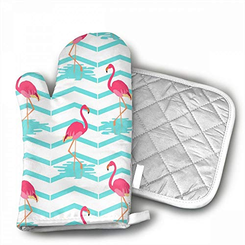 Flamingo Oven Mitts,Professional Heat Resistant Microwave BB