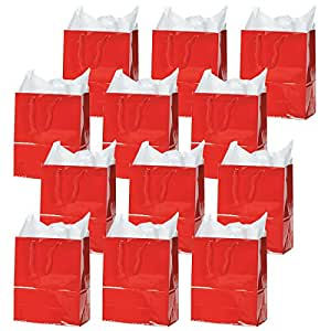 Large Red Gift Bags (1 dozen) - Bulk [Toy]