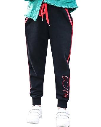 Jogging Pantalons De Sport Pour Fille Enfants Resserré Aux Chevilles  Pantalon Longue Noir 120 5f8ff77918b