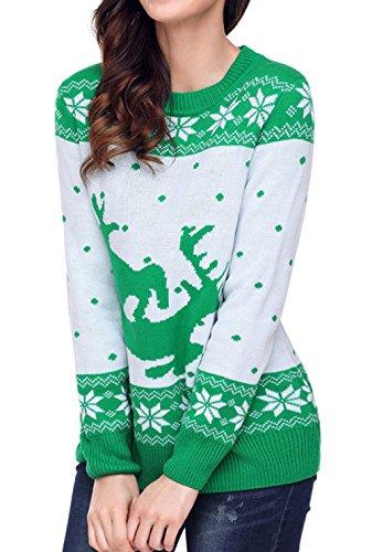 la la de la de Santa de de del la reno mujeres de oscilación suéter larga copos de las Traje Bambi reno Scothen Traje de de Verde del suéter retro pared nieve de el manga los Navidad Navidad del jersey con qf4RfCw