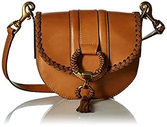 FRYE Ilana Leather Wrapped Small Saddle Bag Antique Veg Tan, Cognac