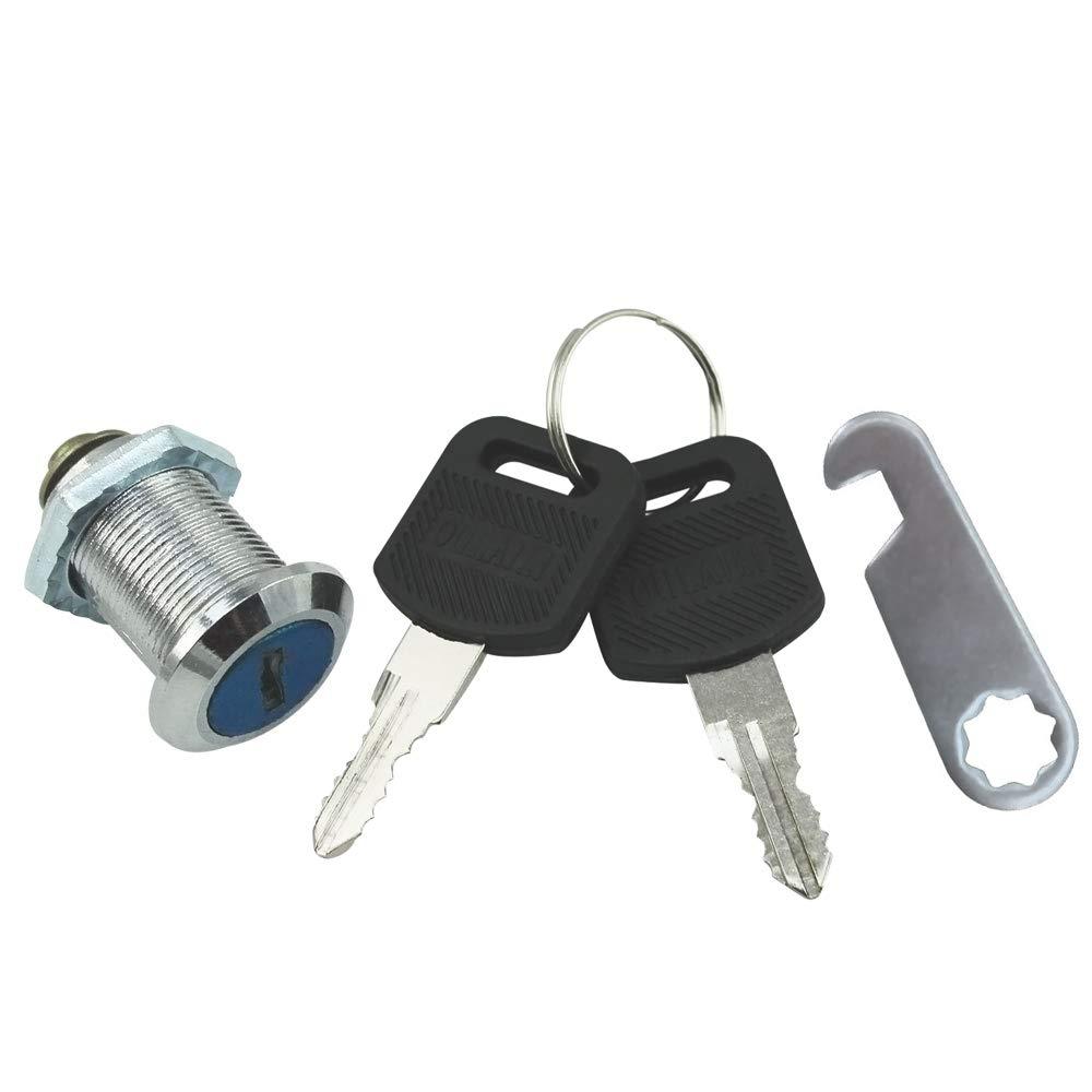 25 mm 02 Piezas - 25 mm com-four/® Cerraduras de buz/ón 2 Cerradura de Muebles con Llave