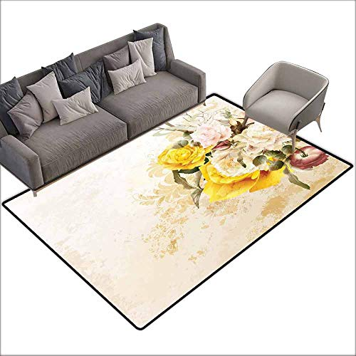Entrance Modern Area Rugs Floral,Flower Bouquet Flourishing Rose Petals Botany Shabby Chic Design,Earth Yellow Olive Green Pink 80