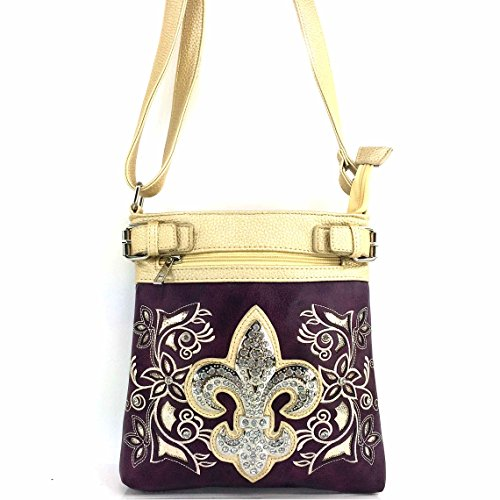 Long Purse Lis Cut with West Justin Strap Purple Rhinestone Floral Fleur Tooled De Crossbody Laser Western Rose Messenger Bag SqwZOtw