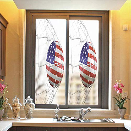 - Sports Decor 3D No Glue Static Decorative Privacy Window Films, USA American Flag Printed Soccer Ball in a Net Goal Success Stylized Artwork,17.7