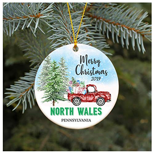 Christmas Ornament 2019 North Wales Pennsylvania PA Christmas Decoration Funny Gift Christmas Together First Christmas as a Family Couples Gifts Boyfriend Girlfriend 3