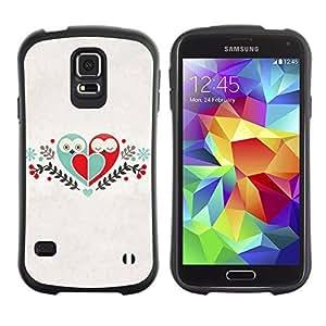 Hybrid Anti-Shock Bumper Case for Samsung Galaxy S5 / Cute Birds & Heart Love