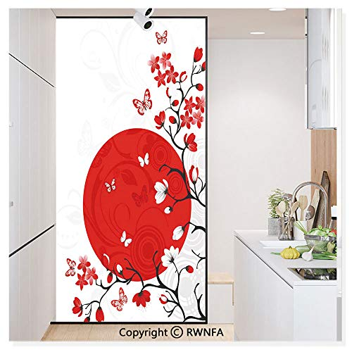 Decorative Privacy Window Film Japanese Culture Inspired Artwork Cherry Blossom Sakura Tree Eastern No-Glue Self Static Cling for Home Bedroom Bathroom Kitchen Office,Vermilion Black White