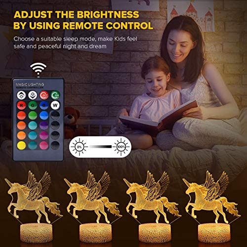 Koicaxy Unicorn Night Light for Kids, LED 3D Night Light Bedside Lamp with Remote & Smart Touch 16 Colors + 7 Colors Changing Dimmable, Best Unicorn Toys Birthday for Girls Boys