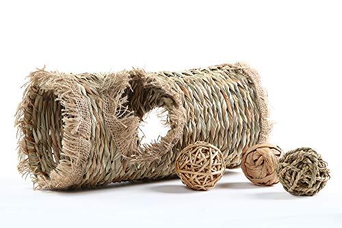 - Niteangel Natural Hideaway Grass Tunnel Ball Toys for Rabbit Chichilla Guinea Pigs Degu Bunny, 13.5-inch