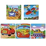 Sumnacon 16 Pieces Wooden Jigsaw Puzzles, Fancy Education And Learning Intelligence Toys Grown Up Puzzles for Toddlers Kids Children Up 2 Years, 5 Pack of Boat Car Airplane Tank Bulldozer