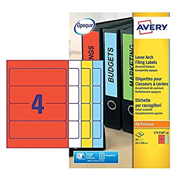 Avery Dennison - Etiquetas para carpetas archivadoras tamaño 200x60mm - Pack de 80 uds.: Amazon.es: Oficina y papelería