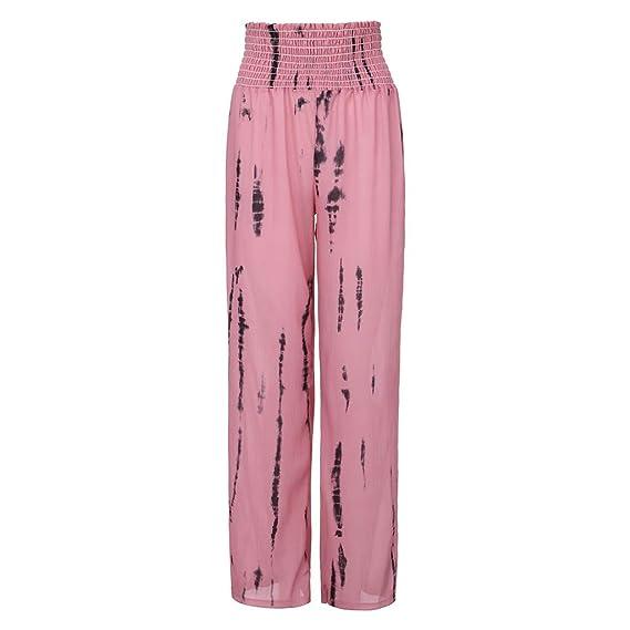 SMILEQ Moda Mujer Pantalones Cintura Alta Tie-Dye Imprimir ...