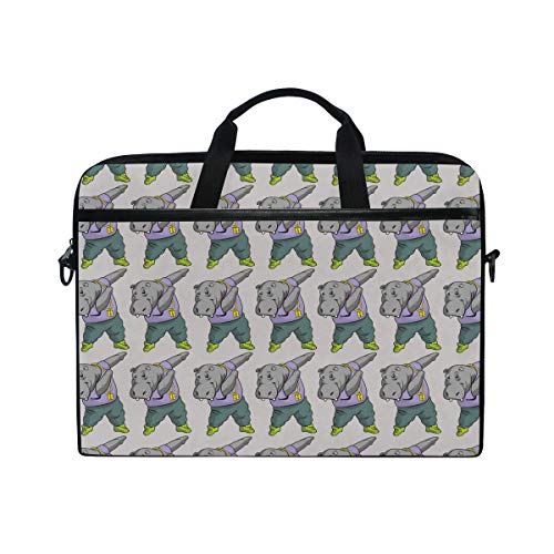 4426fc52a36a Slim Laptop Shoulder Bag Compatible Fits for 15-15.4 Inch Tablet Dabbing  Hippo Funny Animal Durable Laptop Briefcase Business Office Bag Notebook ...