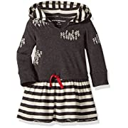 Burt's Bees Baby Baby Girls' Organic Drawstring Waist Hooded Dress, Hooded Charcoal Heather, 0-3 Months