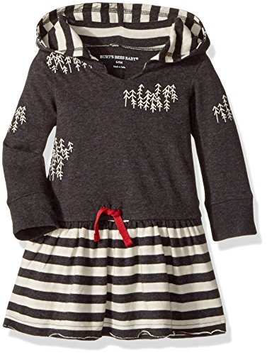 Burt's Bees Baby Baby Organic Drawstring Waist Hooded Dress, Coal Heather, 3-6 Months