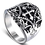 Dixinla Rings Steel , European Fashion Retro Character Punk Men Titanium Steel Cross Ring Jewelry Gift for Family or Friends