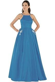 09fcd28c6a QueenBridal Spaghetti Straps Elegant Ball Gown V Neck Satin Long Prom Dress  Wedding Bridesmaid Dress QU94
