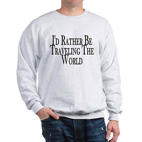 Urban Jacket Traveler (CafePress Rather Travel The World Sweatshirt Classic Crew Neck Sweatshirt Ash Grey)