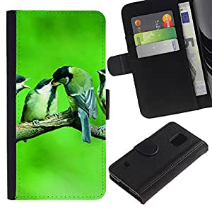 iKiki Tech / Cartera Funda Carcasa - Cute Birds Baby Nature Spring Green - Samsung Galaxy S5 V SM-G900