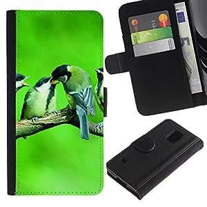 LASTONE PHONE CASE / Lujo Billetera de Cuero Caso del tirón Titular de la tarjeta Flip Carcasa Funda para Samsung Galaxy S5 V SM-G900 / Cute Birds Baby Nature Spring Green