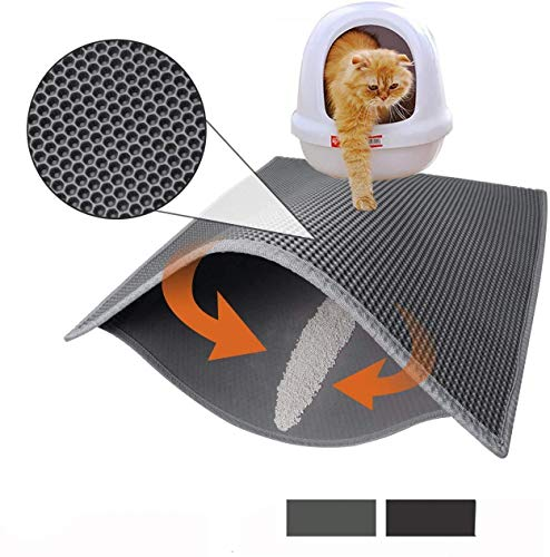 Cat Litter Mat Litter Boxes Trapper Mat Trapper Size 24″ X15″, Honeycomb Double-Layer Waterproof Urine Proof Material, Easy Clean Washable and Floor Carpet Protection (Light Grey)