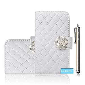 iPhone 6 Case ,Tradekmk(TM)Deluxe Quilted Design Fashion Bling Camellia Pendant Purse Wallet Leather Folio Case Cover Fit For Apple iPhone 6 with 4.7 inch Screen (White),with Credit Cards Slots and Stylus Pen