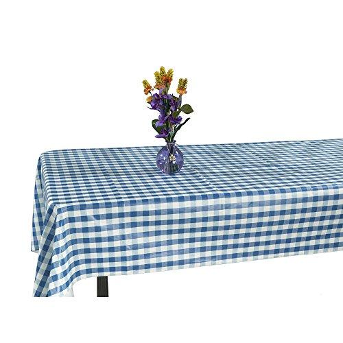"""Ottomanson Vinyl Tablecloth Checkered Design Indoor & Outdoor Non-Woven Backing Tablecloth, 55"""" X 102"""", Blue"""