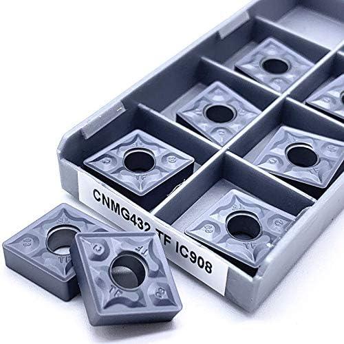 10PCS CNMG120408 TF IC907 / IC908 Außendrehwerkzeuge CNMG 120408 Carbide Insert Drehschneidwerkzeugeinsatz Drehen (Größe : CNMG120408 TF IC907)