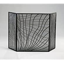 Modern Woven Metal Fireplace Screen Silver & Black