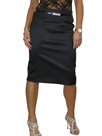 905cd5586 icecoolfashion ICE Stretch Matte Satin Skirt Diamante Belt Black 8-22 (8)