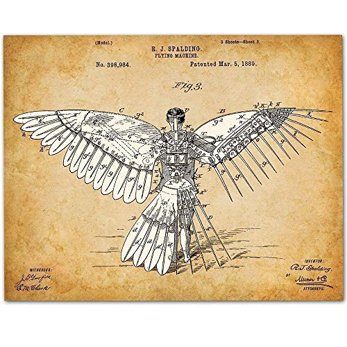 (Icarus/Human Flight Machine - 11x14 Unframed Patent Print - Makes a Great Gift Under $15 for Pilots)