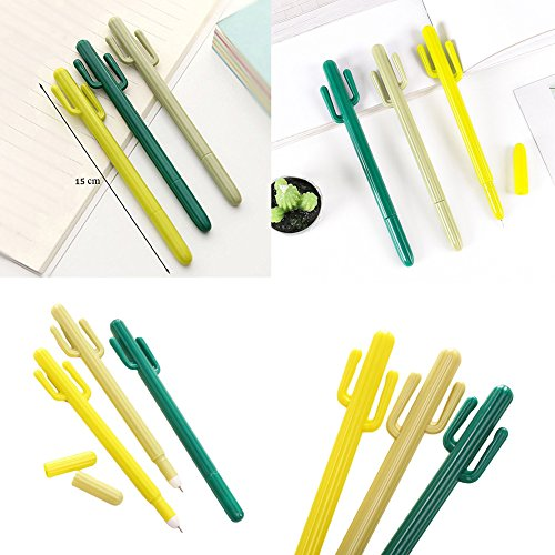 Cactus Ballpoint Pen, 6 pcs Cute Cactus Premium Black Gel Ink Office Writing Pens with Cactus Canvas Pen Case Pencil Bag for School Office Supply Gift Stationery(Cactus Pen set) by wanxing (Image #5)