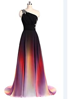 b98e94e948 ANGELA One Shoulder Ombre Long Evening Prom Dresses Chiffon Wedding Party  Gowns
