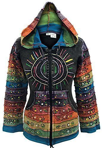 - Shopoholic Fashion Women's Peace Patchwork Pixie Hippy Ribs Hoodie Faded Jacket -BK-S