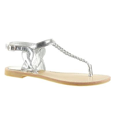 Angkorly Damen Schuhe Sandalen Flip-Flops - T-Spange - String Tanga - Geflochten - Bestickt Blockabsatz 5 cm